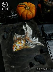 Inkwash fishy with a touch of watercolor EZENAMI_Kai_watercolor_0048