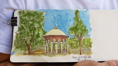 Today I made my first urban sketch in my city. I painted a picnic area in the Maria Luisa's Pa