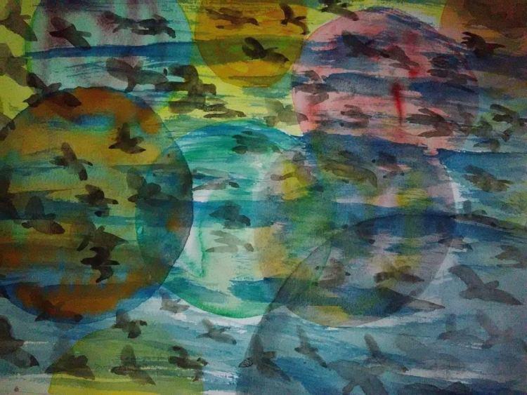 Birds, many birds. Papier: Fabriano, 27 x 35 cm. Color: Pannoncolor IMG_20171007_164043