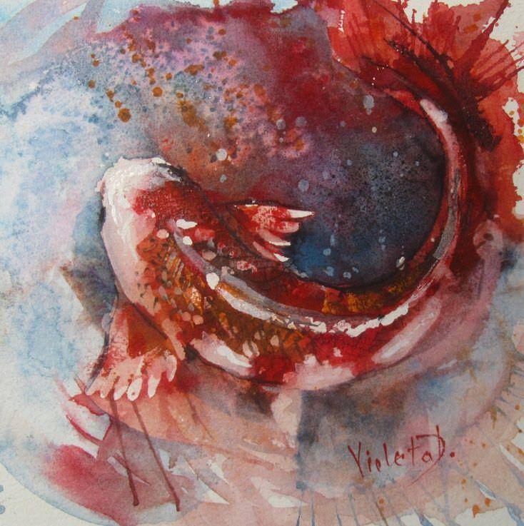 Koi fish, watercolour on Arches 300 gsm (2014) koi2