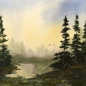 """Sunrise Solitude"" – Original Watercolor"