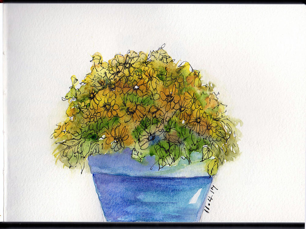 November 4 – Flowers When I was a kid and I saw these pots of yellow flowers appear everywhere