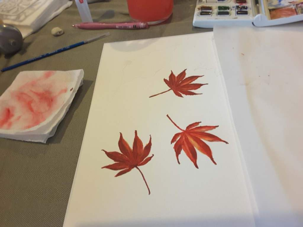 My first leaves from Heidi Willis' watercolour class Chasing Autumn. I have a long way to go!