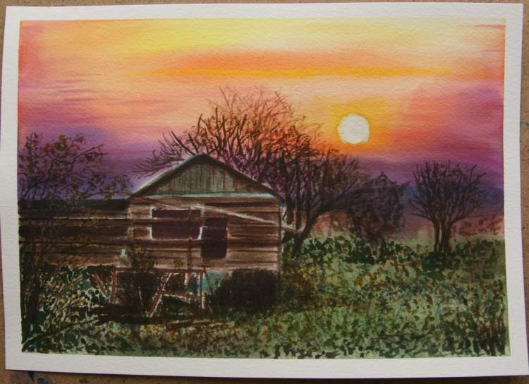 I couldn't help but painting this village scenery, an abandoned old house in the sunset. One f