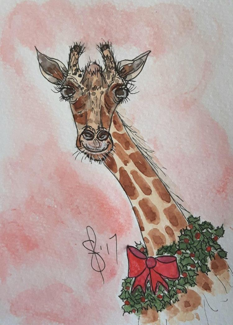 A Christmas Giraffe? Why not? It looks like Gretchen the giraffe is all ready for Christmas. Artist