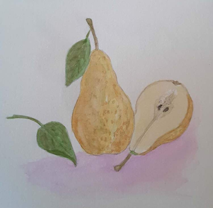 "#WorldWatercolorGroup Nov 2017 Challenge ""Pears"" 20171116_081527"