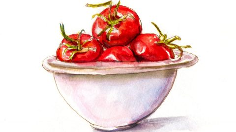 #WorldWatercolorGroup - Day 11 - A Bowl Of Tomatoes - Doodlewash