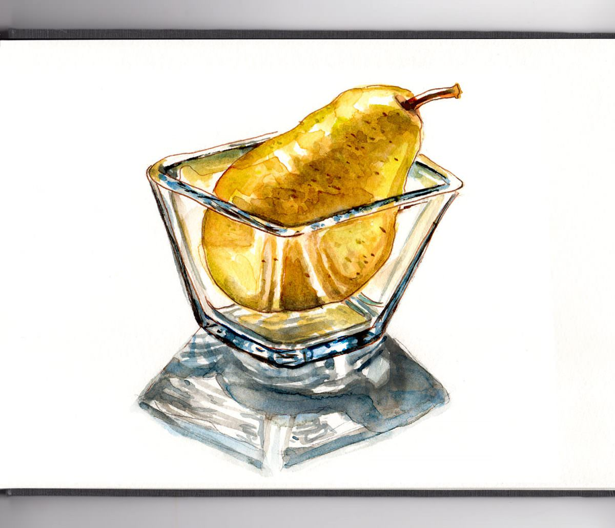 #WorldWatercolorGroup - Day 16 - A Pear In A Glass - Doodlewash