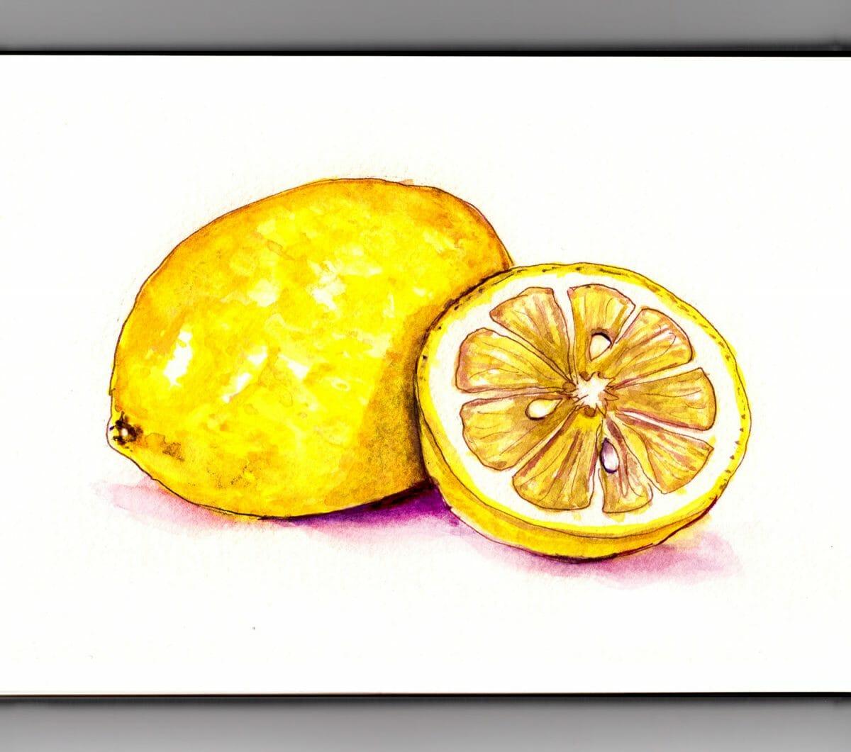 #WorldWatercolorGroup - Day 22 - A Bit Of Lemon - Doodlewash