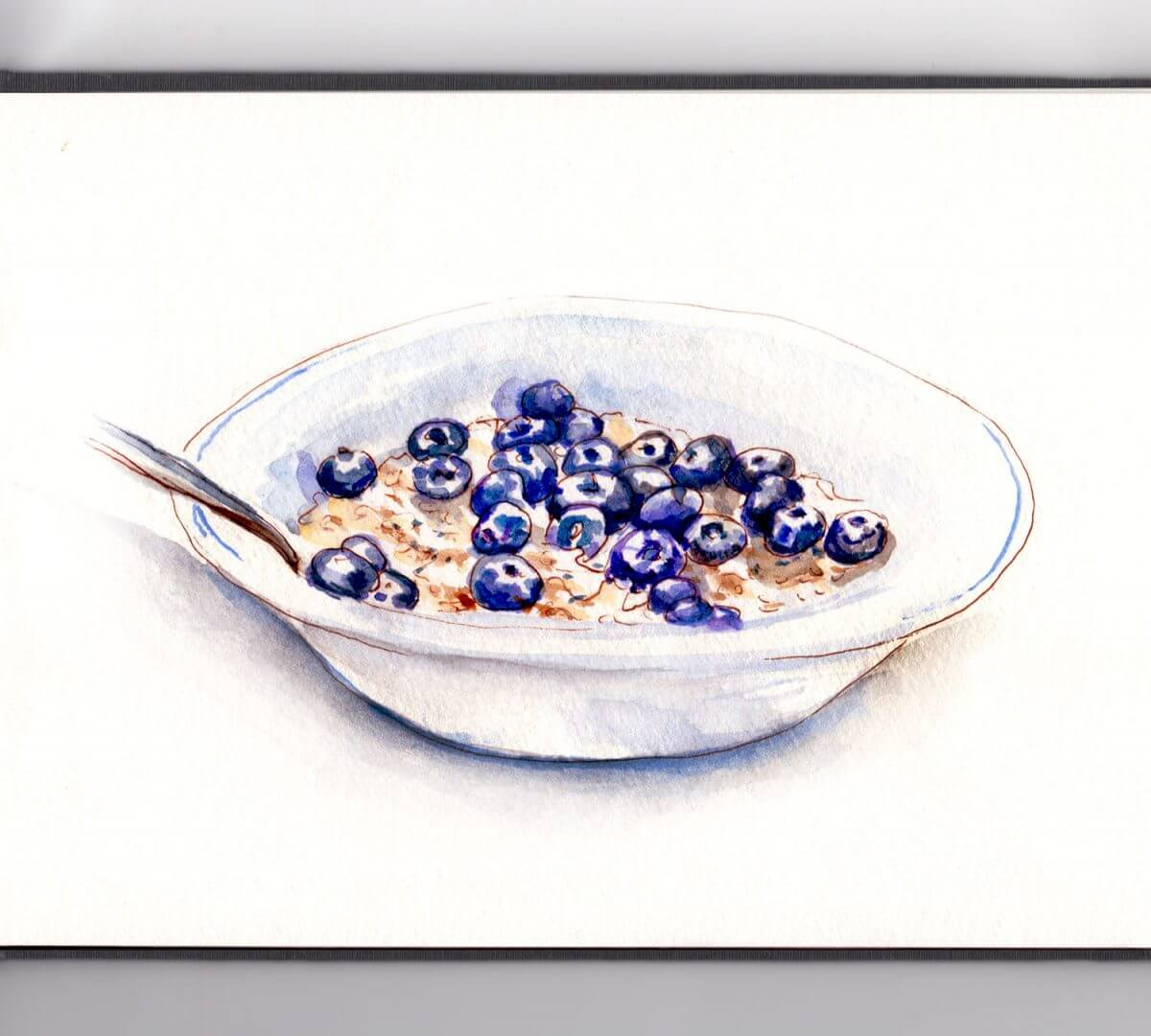 #WorldWatercolorGroup - Day 6 - Oatmeal and Blueberries - Doodlewash