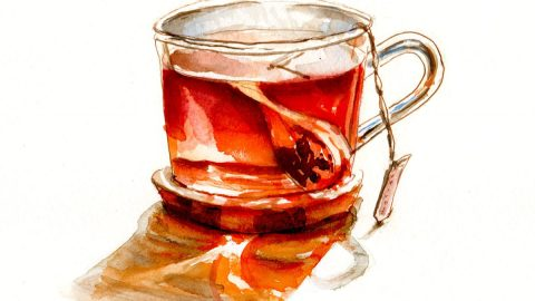 #WorldWatercolorGroup - Day 9 - Herbal Tea - Doodlewash