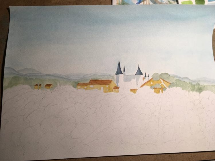 #WednesdayWorkInProgress — A chateau and vineyard. Watercolor. Size: A3. It\'s a course