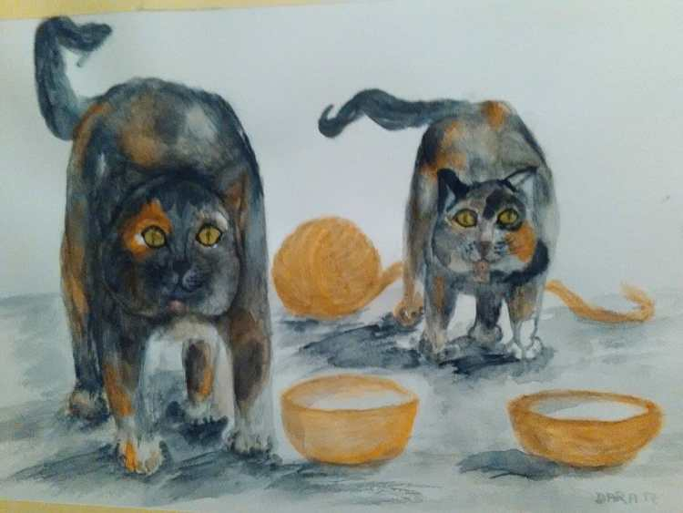I finished the cats. They wait for them to give them food. ?Tomorrow will be Penguin Family from San