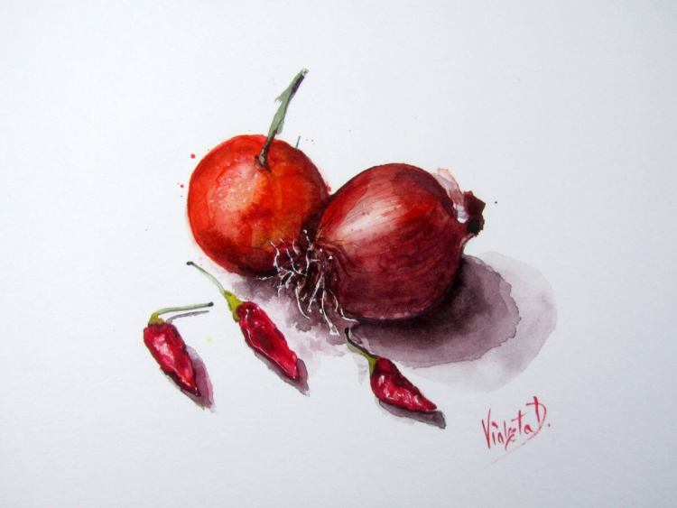 Tangerine, Onion and Chili peppers, watercolour on Hahnemühle 425 gsm, 30×40 cm (18 December 2