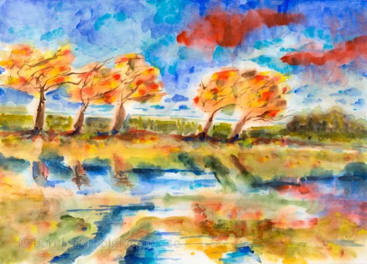Herbststürme I Aquarell, Japanpapier, 25,7cm x 36,4cm, 45 g/m² Autumn storms I watercolor, japanes