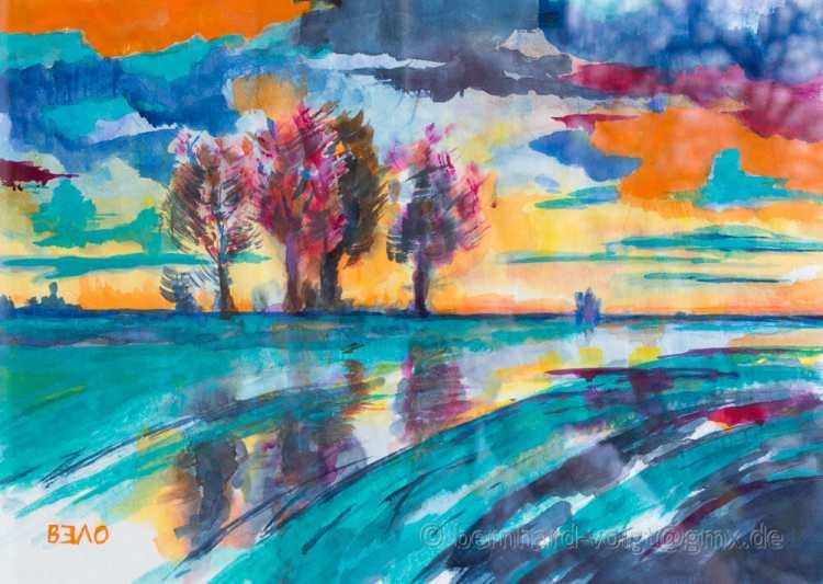 Kalter Herbsttag am Kanal Aquarell, Japanpapier, 25,7cm x 36,4cm, 45 g/m², Cold autumn day at the c