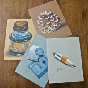 Set of 4 Toned Paper Limited Edition Print Postcards