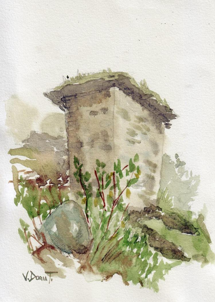 """Another sketch of a """"Culpi"""", in the archaeological site of Rupac, Lima. watercolor on pa"""