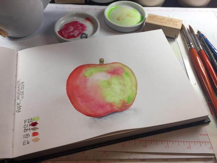 #worldwatercolorgroup November Challenge – Day 2 – Apples. This was hard! 🙂 Daniel Sm