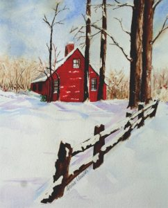 I used this painting's image last year for my Christmas cards. Added a little glitter and it c