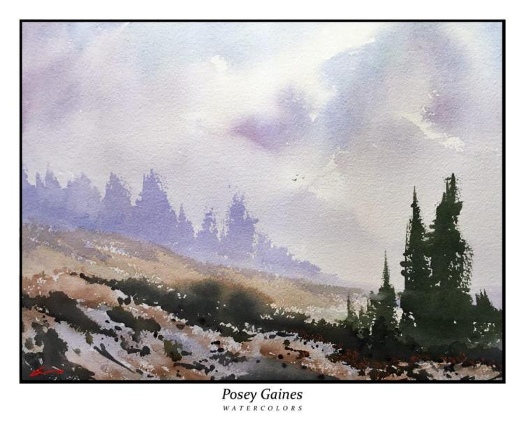 """High Mountain Pass"" 14″ x 20″ posey-gaines-high-mountain-pass"