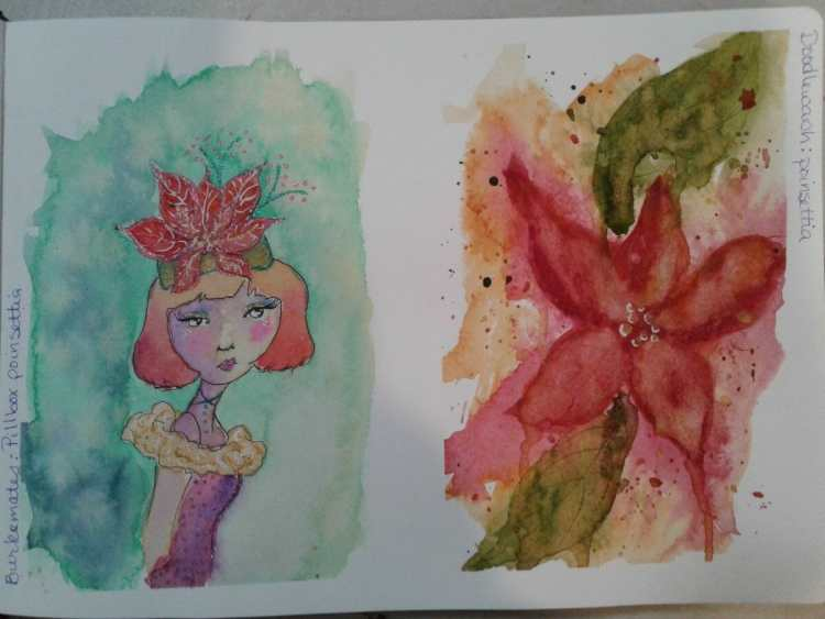 Day 159…poinsettia and pillbox poinsettia. Too funny that both prompts were poinsettias. I lik