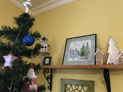 My wife has incorporated a lot of my learning paintings in her Christmas decor. She loves and suppor