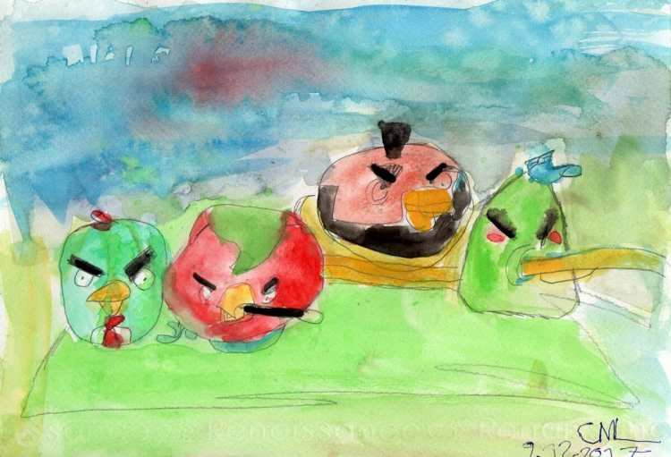 Angry Birds #WorldWatercolorGroup My boy requested that he also wants to post his artwork to DoodleW