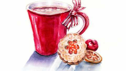 #WorldWatercolorGroup - Day 12 - Hot Chocolate And Cookies - Doodlewash