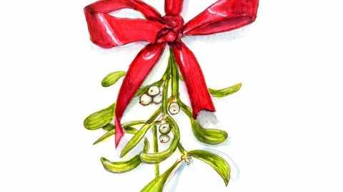 #WorldWatercolorGroup - Day 15 - A Kiss Under The Mistletoe - Doodlewash