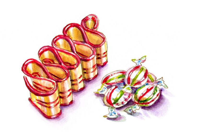 #WorldWatercolorGroup - Day 20 - Christmas Candy - Doodlewash