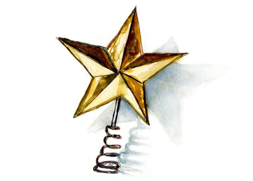 #WorldWatercolorGroup - Day 6 - The Christmas Star Tree Topper - Doodlewash