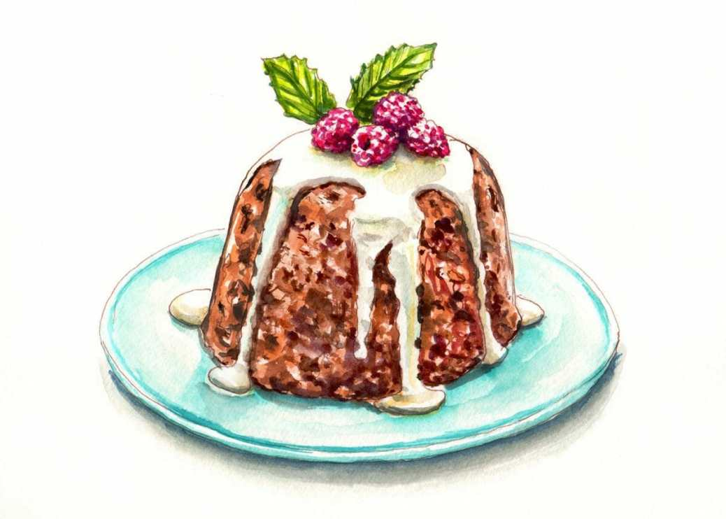 #WorldWatercolorGroup - Day 9 - Oh bring us some figgy pudding - Doodlewash
