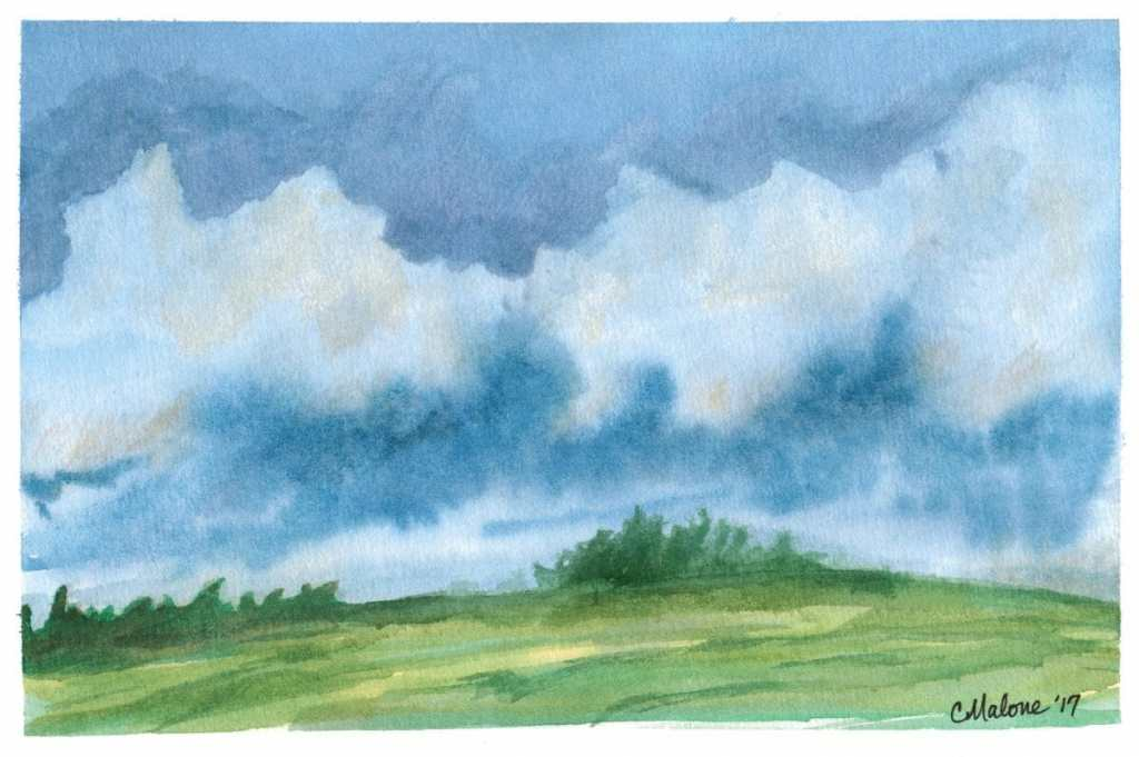 Today's sky study. Lukas watercolor 300oz Bee watercolor 100% cotton First time to use cotton pape