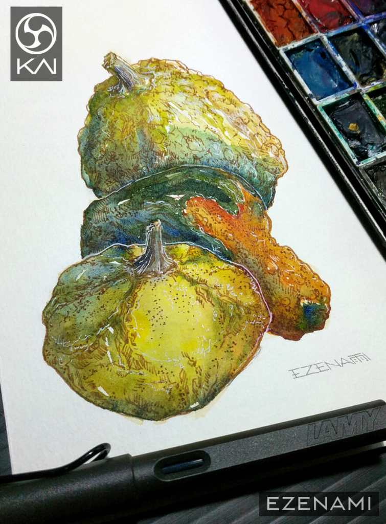 pumpkins illustration – i love using earthy and neutral color inks to add detail 🙂 EZENAMI_