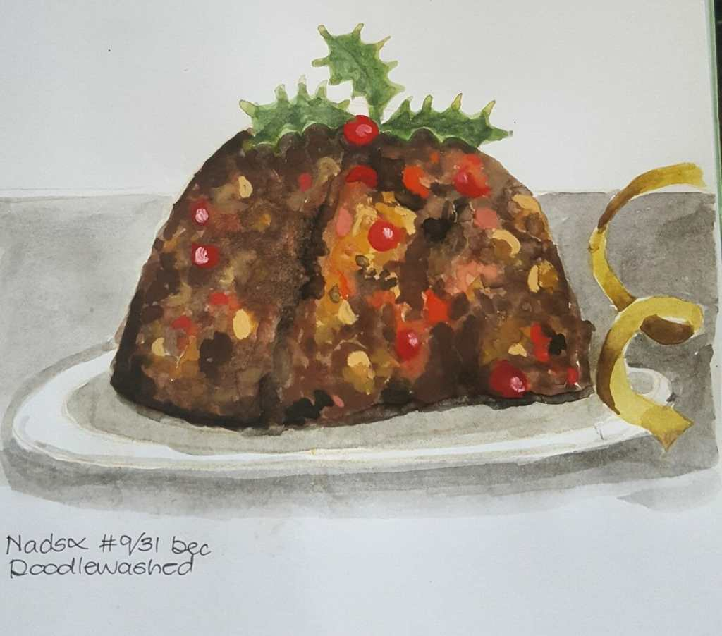 PUDDING ~ 9/31 @doodlewashed December sketch prompt. I absolutely love Christmas pudding! The rich,