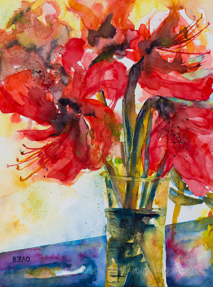 Ritterstern I – Aquarell, 30cm x 40cm, 250g/m² Amaryllis I, Watercolor #WorldWatercolorGroup