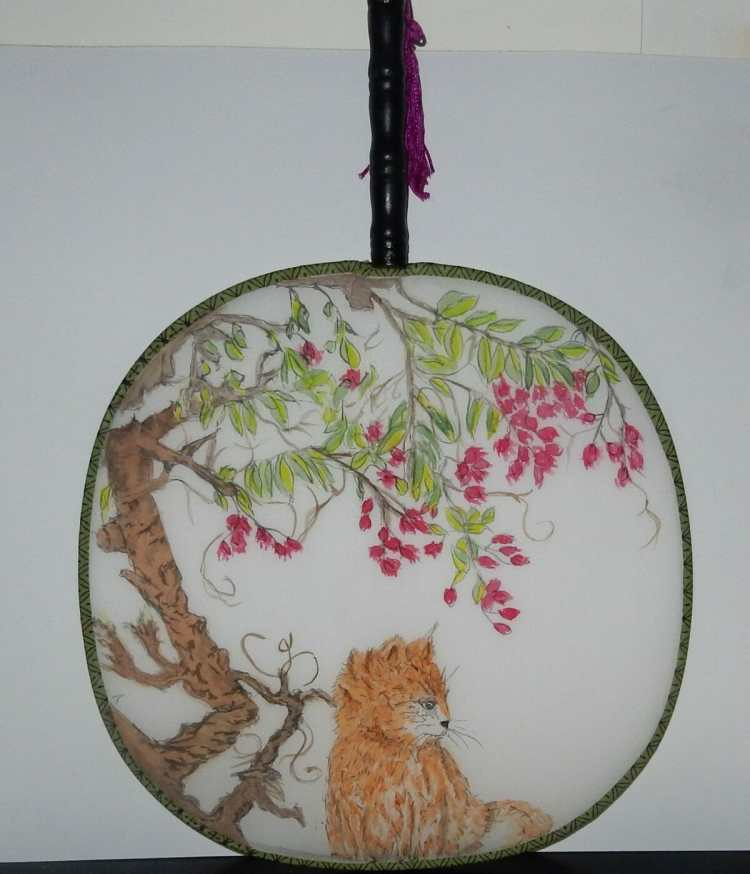 #WorldWatercolorGroup Watercolour on a Chinese Silk Fan in the GongBi style KITTEN ON A CHINESE SILK