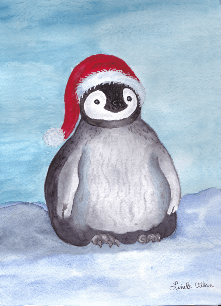 Krinkle Pengie Santa's Little helper, done on Arches cold press paper 140 lb , paints are Wins