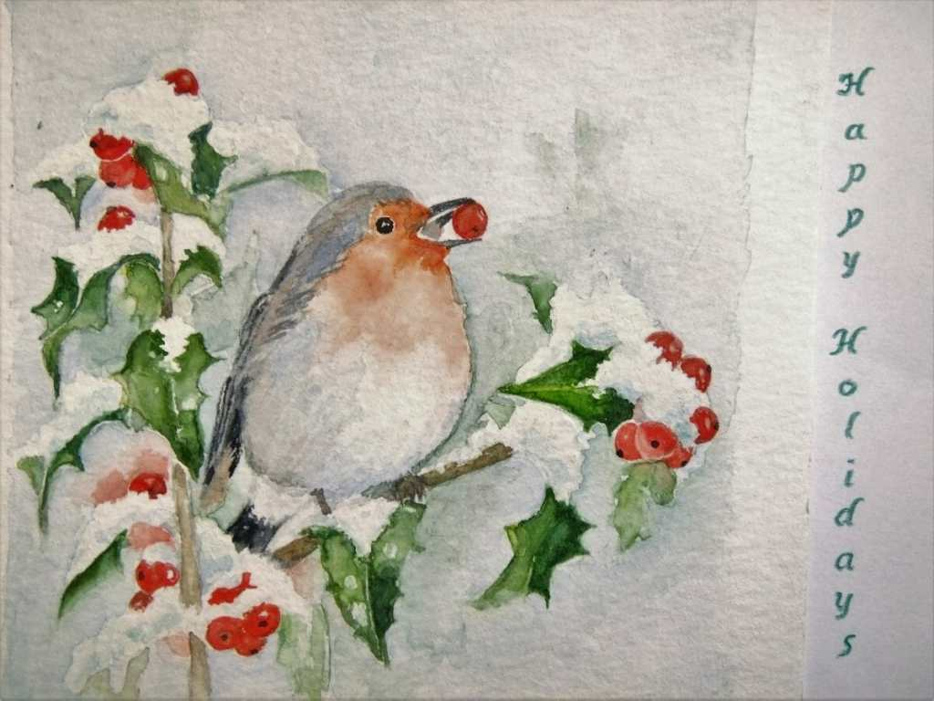 Best wishes for 2018 Robin on Snowy Holly