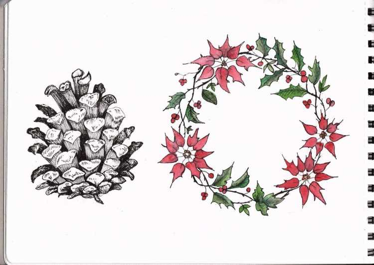 Christmas artwork for my cards: each year I say I will be organised earlier, but it never seems to h