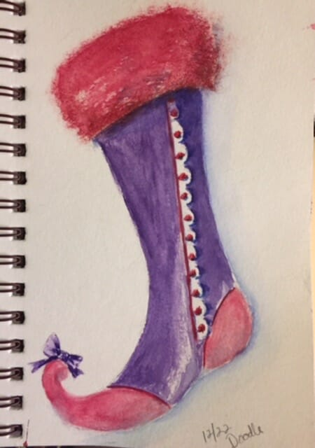 Royal stocking (or Red Hatter's?. . . didn't think of that when I splashed my paint) Sti