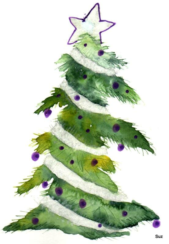 #WorldWatercolorGroup December Challenge Day 13: Tinsel When I was a child, we always had tinsel gar
