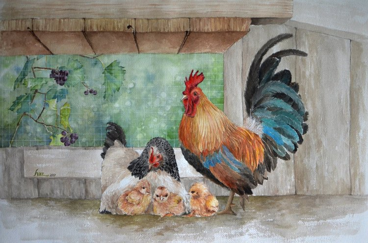 Chicken family Size: 38x56cm 26171322_10214842390591722_5712886048982502788_o