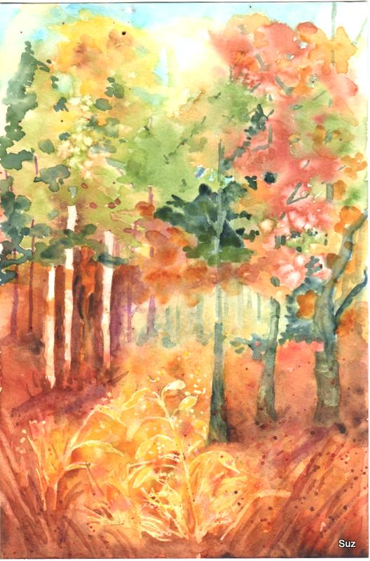 A new little painting of sunlight streaming through autumn woods. 6″ x 9″ 300g/m2 Bee Pa