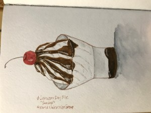 Not awesome. But Done. :). Paint, ink, white gel pen. #JanuaryDayFive B5DEC030-BEAB-4B53-94C6-7112DF