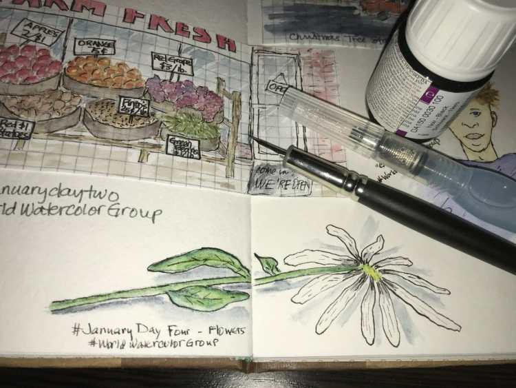 #JanuaryDayFour – Flowers All of this art stuff is new to me, but for these prompts I'm tryi
