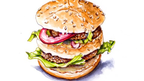 #WorldWatercolorGroup - Day 17 - Double Hamburger - Doodlewash