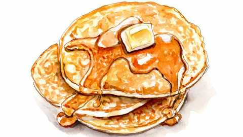 #WorldWatercolorGroup - Day 19 - Weekends And Glossy Pancakes - Doodlewash