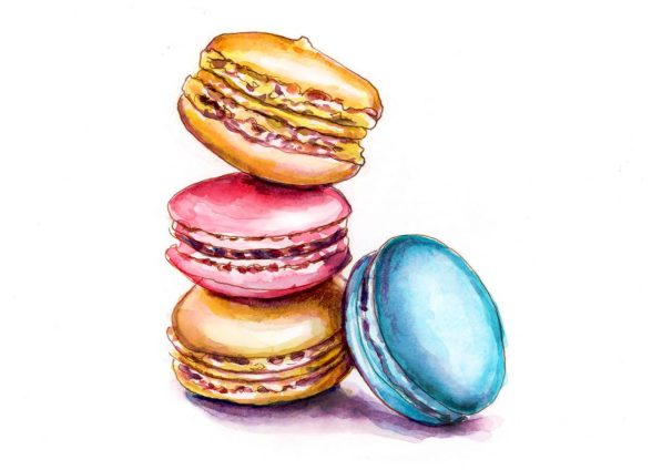 #WorldWatercolorGroup - Day 21 - Macarons In Primary_Colors - Doodlewash